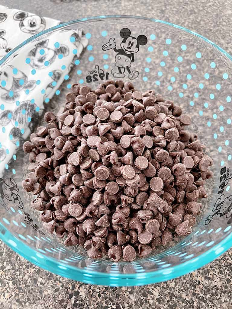 Add the chocolate chips to a microwave safe bowl.