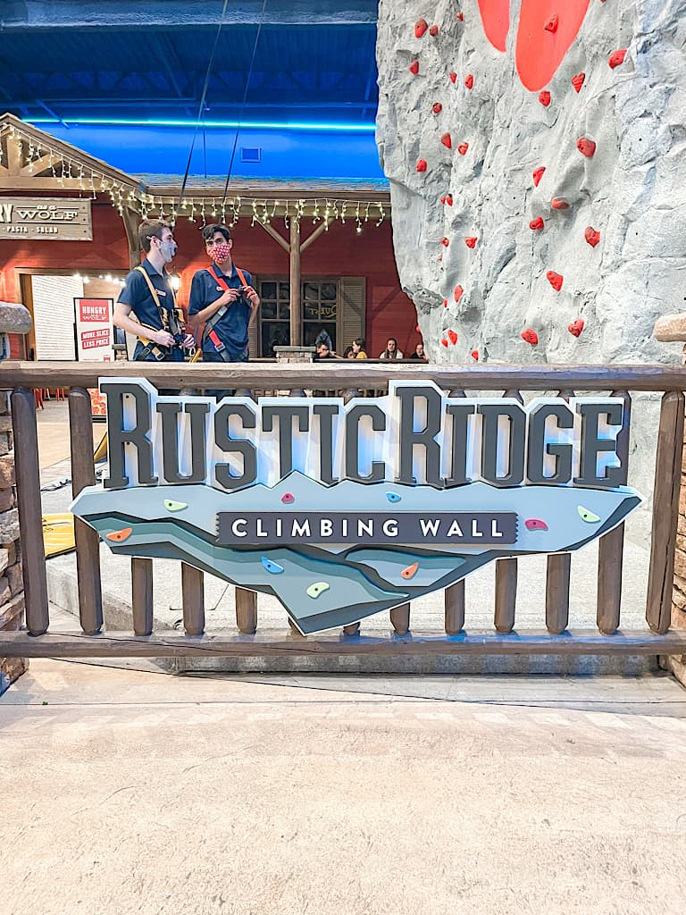 Rustic Ridge Climbing wall at Great Wolf Lodge included with a Wolf Pass