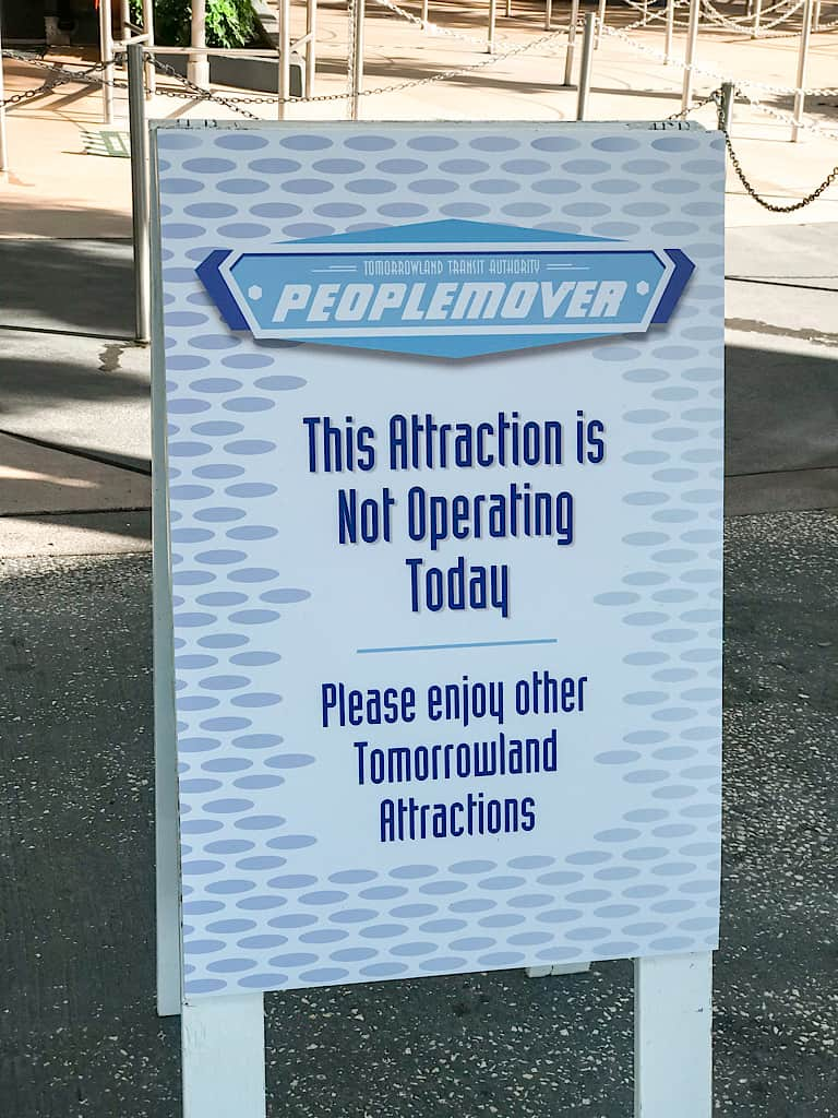 A sign announcing the closure of The People Mover at Disney's Magic Kingdom Park