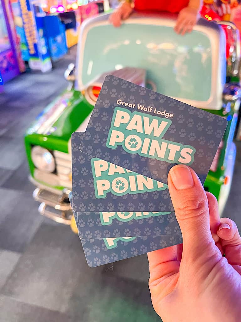 Game Cards called Paw Points to be used at the arcade at Great Wolf Lodge