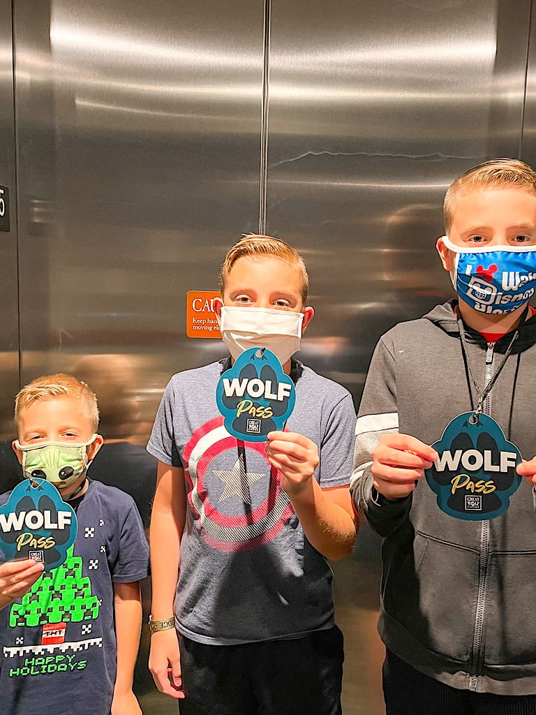 Three boys holding Wolf Passes at Great Wolf Lodge