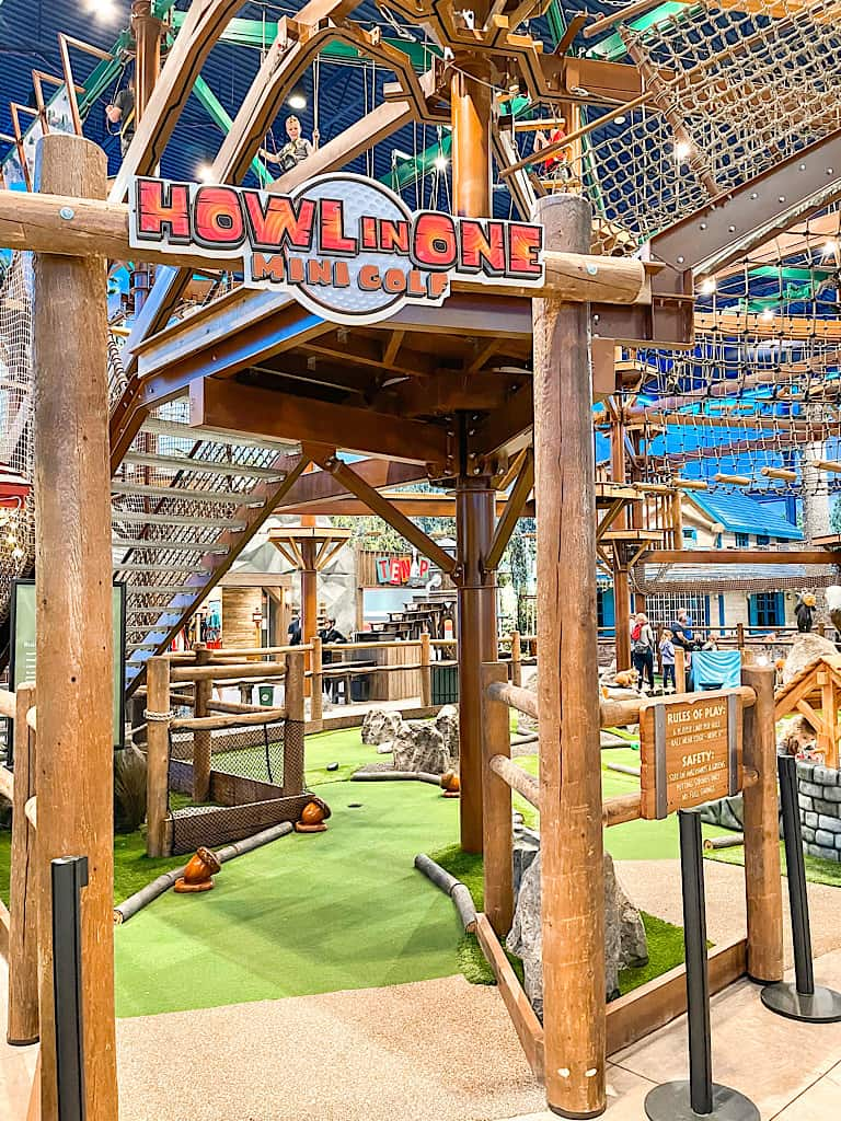Entrance to the mini golf course at Great Wolf Lodge included with a Wolf Pass