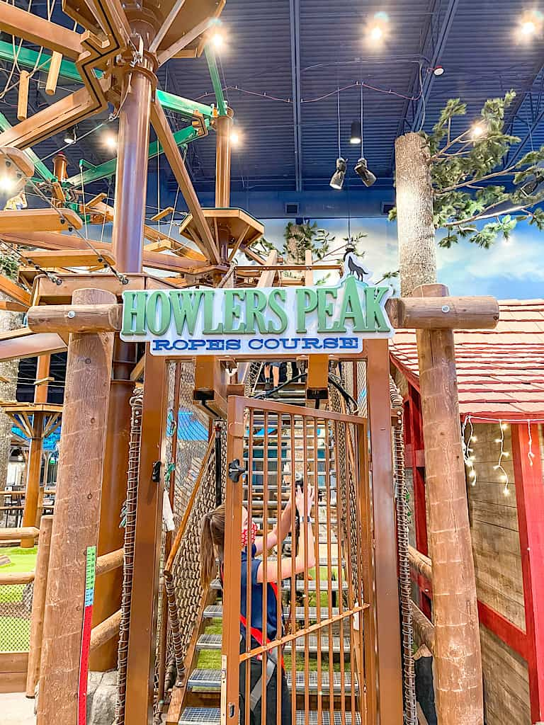Entrance sign to Howler's Peak Ropes Course included with at Wolf Pass at Great Wolf Lodge