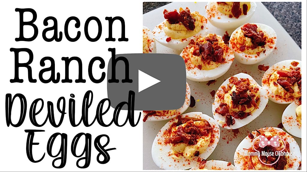 YouTube thumbnail with a picture of crack deviled eggs and text that says Bacon Ranch Deviled Eggs.