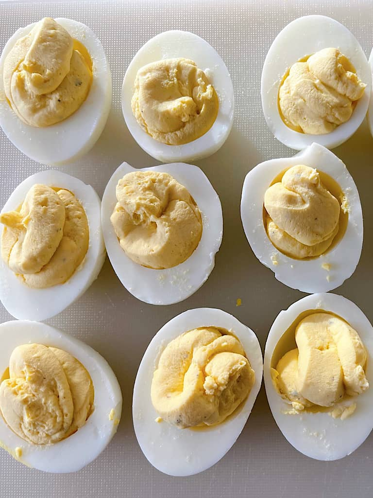 A plate of deviled eggs.