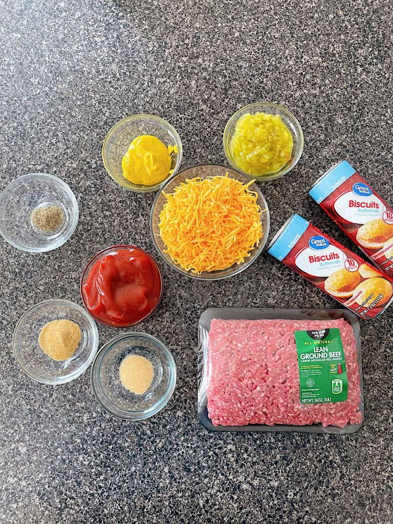 Ingredients to make Disney's Cheeseburger Pods at home.