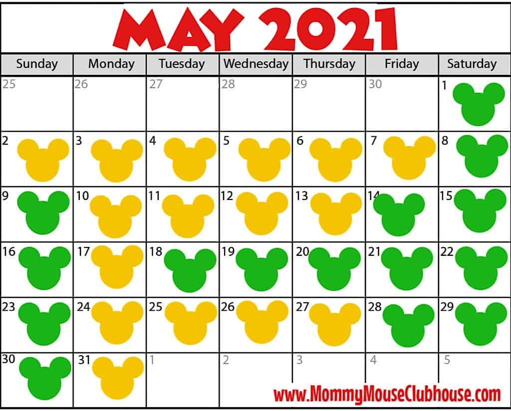 A May 2021 calendar with yellow and green Mickey heads showing park reservation availability at Disney World.