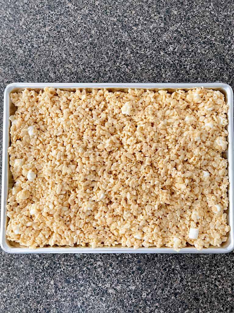 A pan of the Best Rice Krispie Treats.