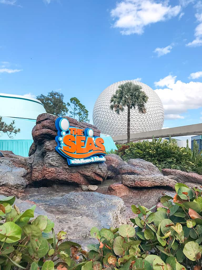 The entrance to The Seas with Nemo and Friends and Spaceship Earth in the background.