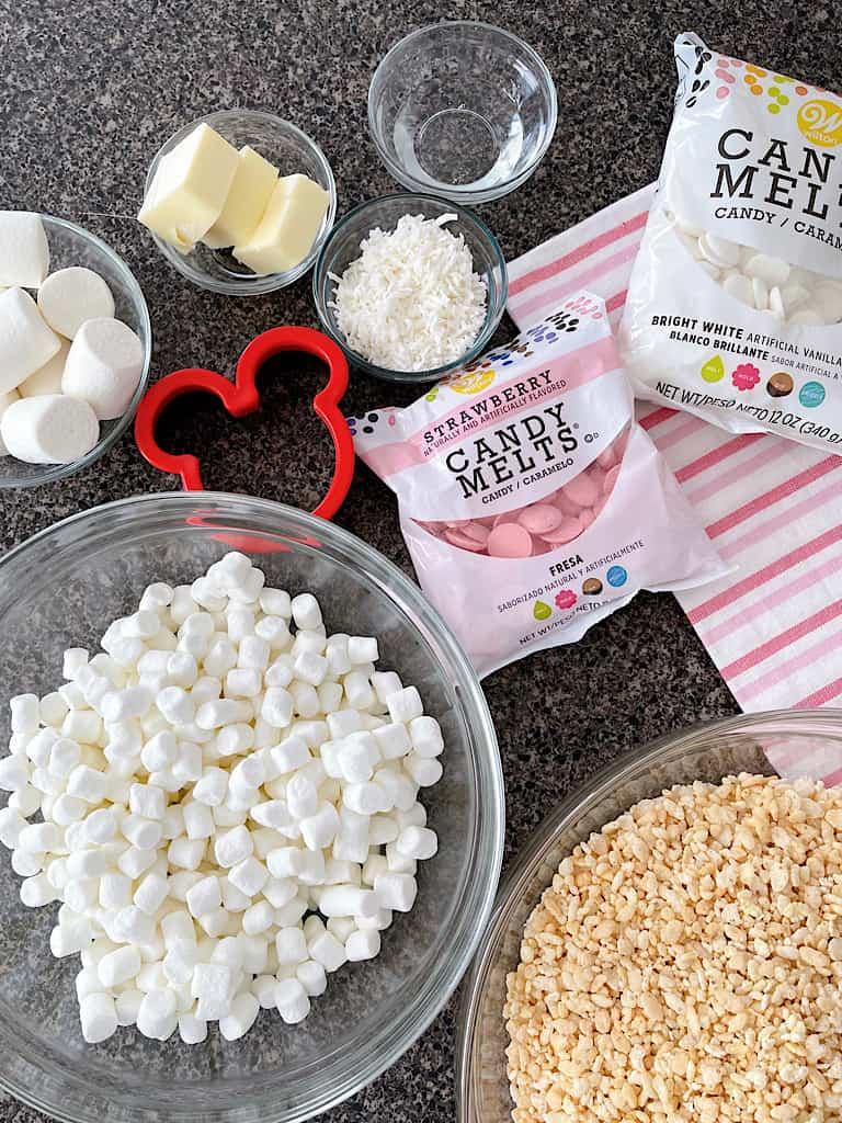 Ingredients to make Mickey Bunny Tail Rice Krispie Treats.