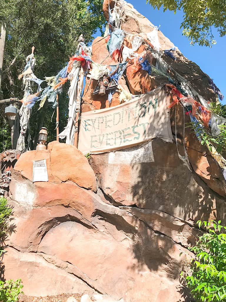 A rock with a sign that says, Expedition Everest.