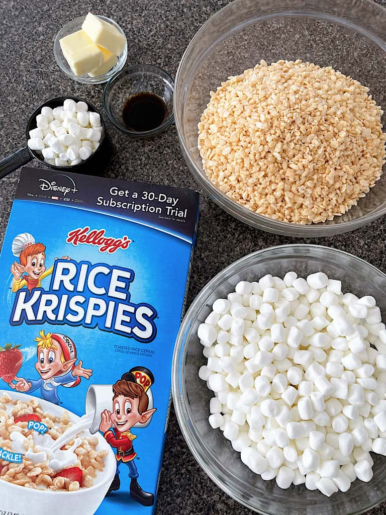 Ingredients to make Classic Rice Krispies Treats.