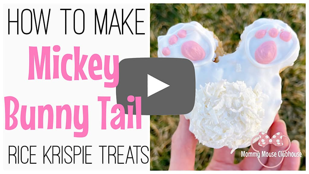 "YouTube thumbnail that says, ""How to make Mickey Bunny Tail Rice Krispie Treats."""
