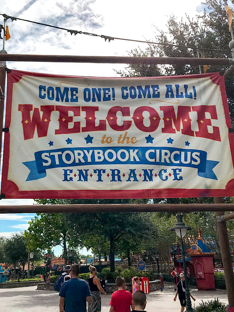 Welcome sign for Storybook Circus in Fantasyland.