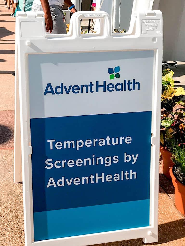 Temperature screening sign at Disney World.