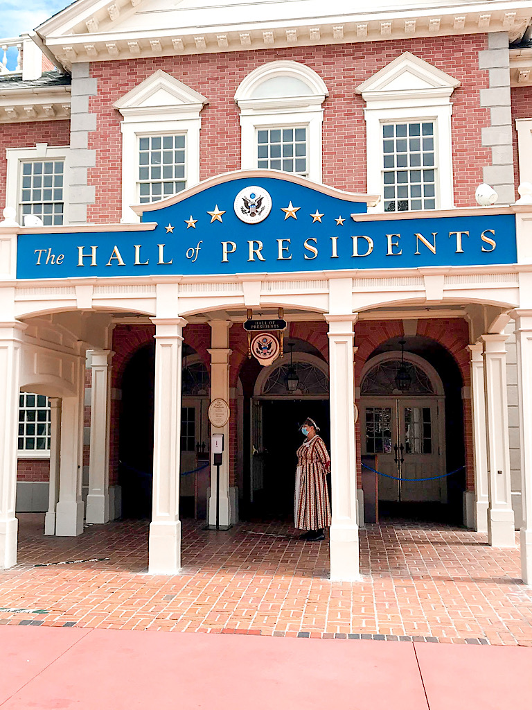 Entrance to Hall of Presidents at Disney's Magic Kingdom.