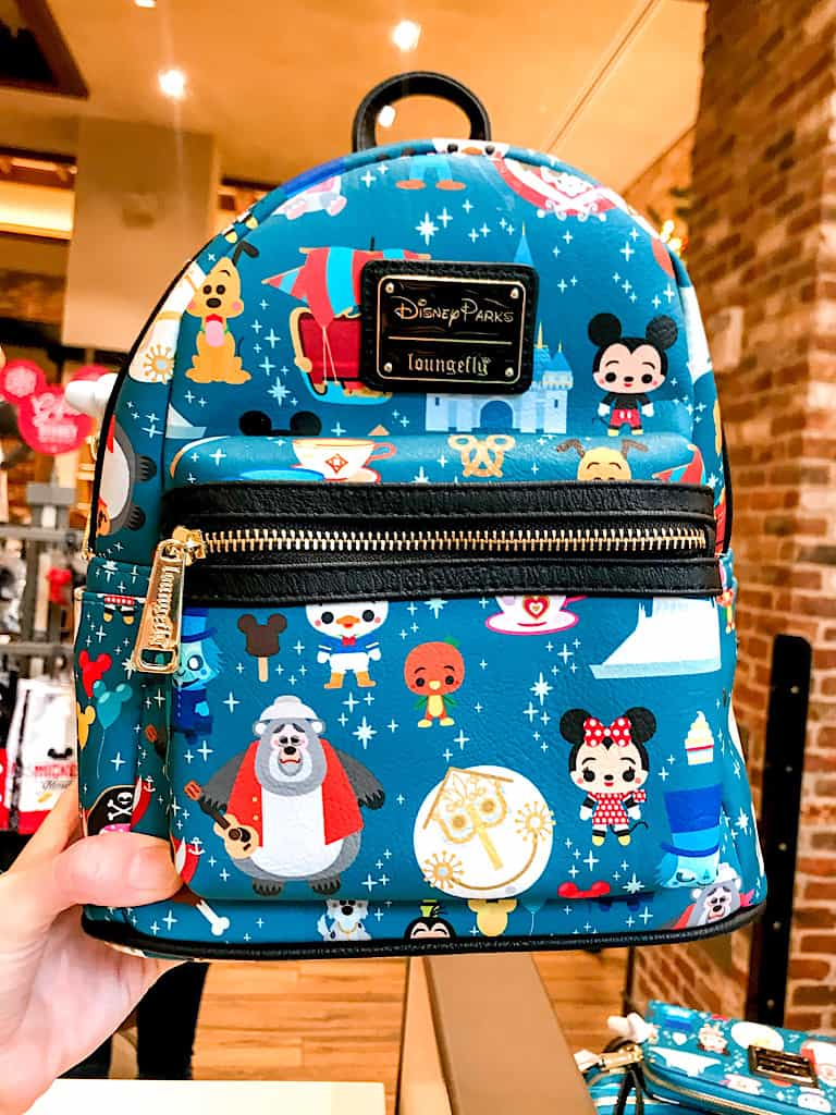 A blue Disney Parks Loungefly backpack.
