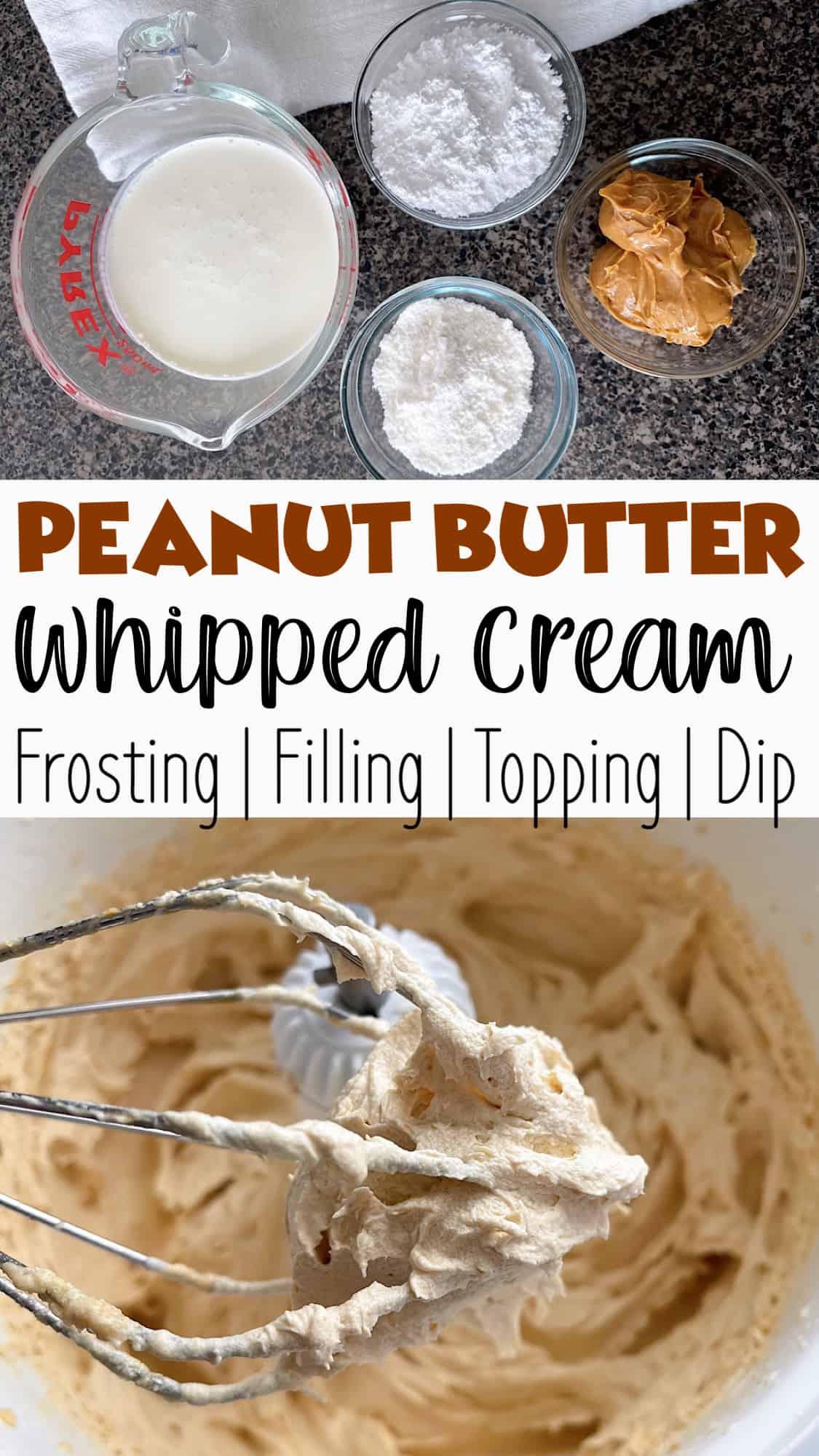 Peanut Butter Whipped Cream Pinterest image.