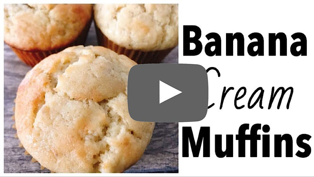 YouTube Thumbnail for Banana Cream Muffins.