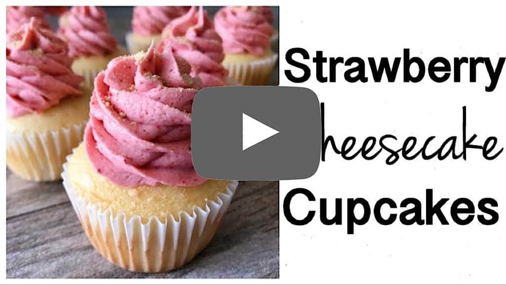 YouTube thumbnail image for Strawberry Cheesecake Cupcakes