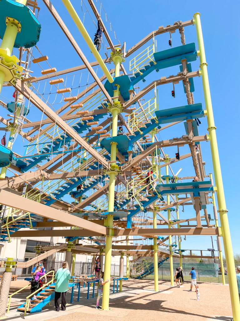 Ropes course at Great Wolf Lodge Texas.