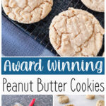 Pinterest image for soft peanut butter cookies.