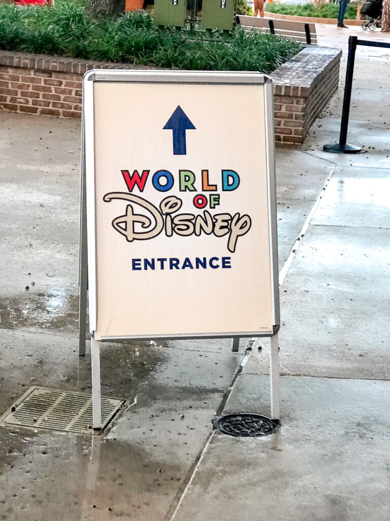 World of Disney entrance sign.