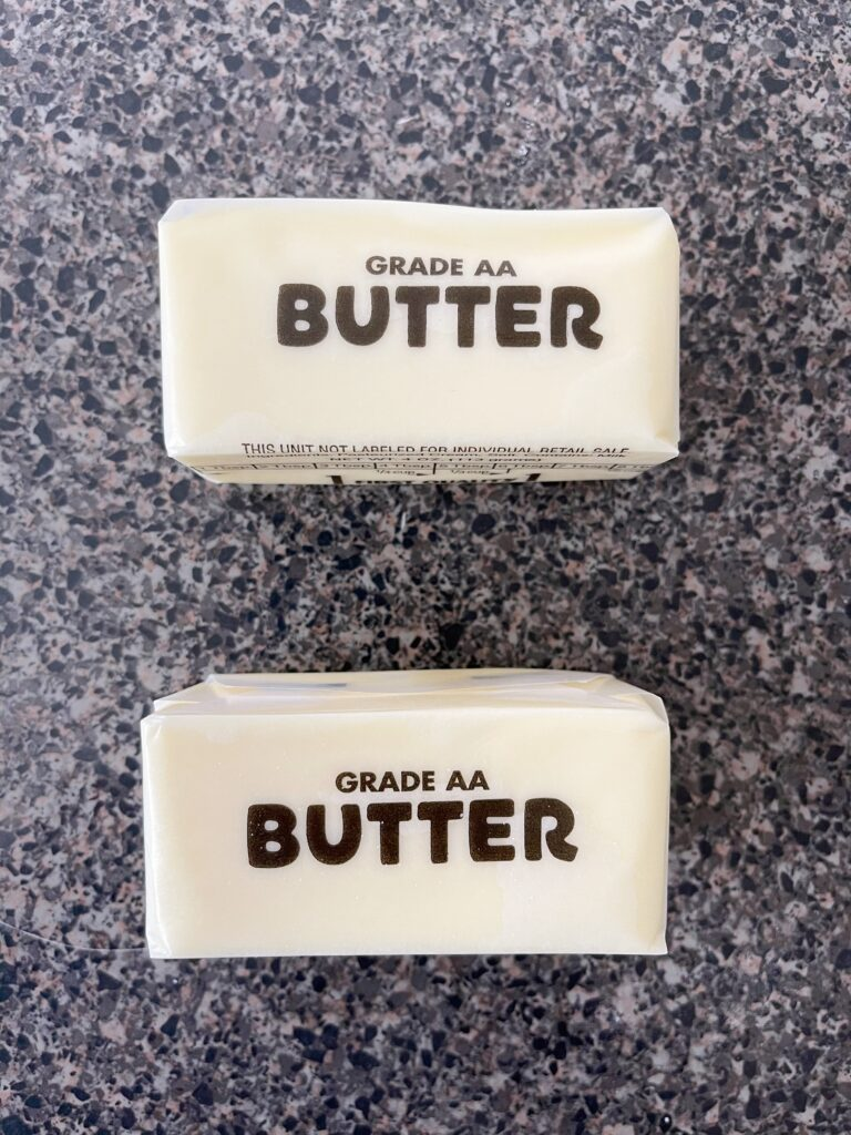 Two sticks of salted butter.