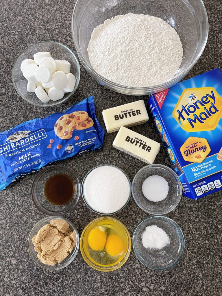 Ingredients for S'mores cookies with graham crackers.