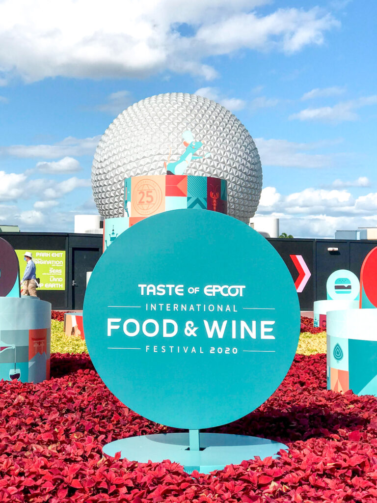 Sign for Epcot International Food & Wine Festival.