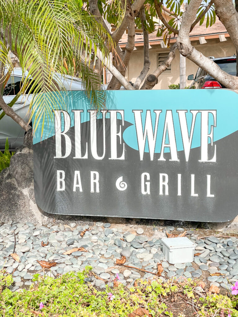 Blue Wave Bar & Grill sign at Best Western Island Palms Hotel in San Diego.