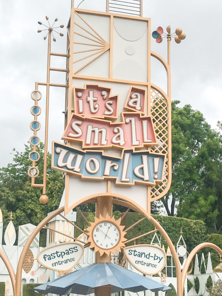 """Sign for the entrance to """"it's a small world"""" at Disneyland."""