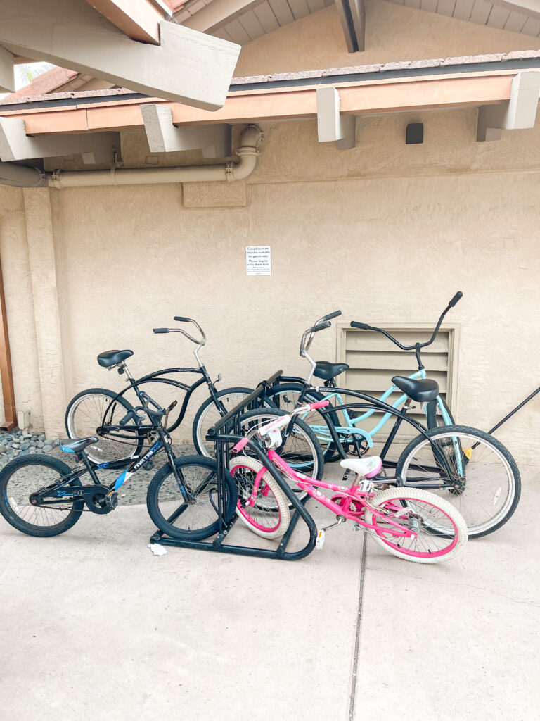 Bikes on a bike rack that are complimentary for guests of Best Western Island Palms.