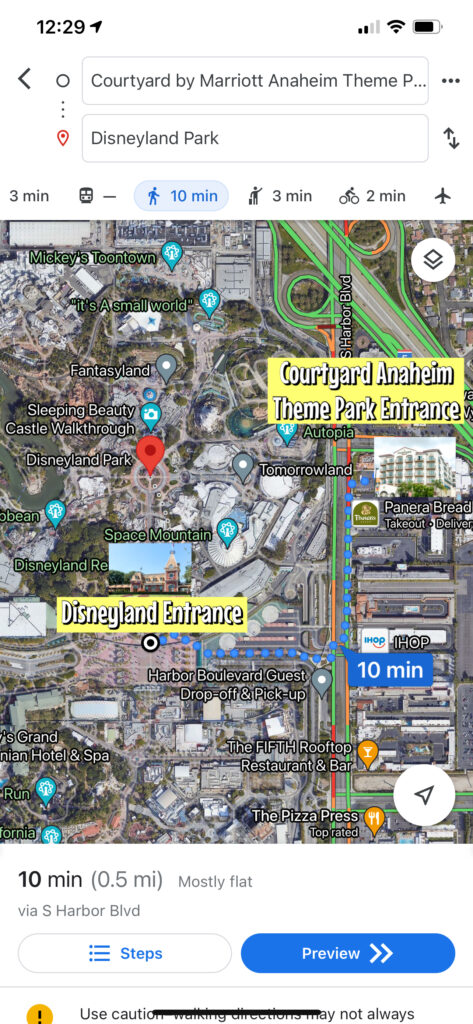 Map showing the walking route from Courtyard Theme Park Entrance to the entrance of Disneyland.