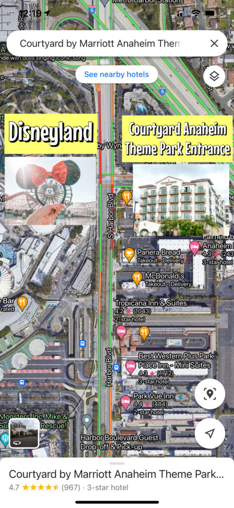 Map of Courtyard Anaheim Theme Park Entrance across the street from Disneyland.