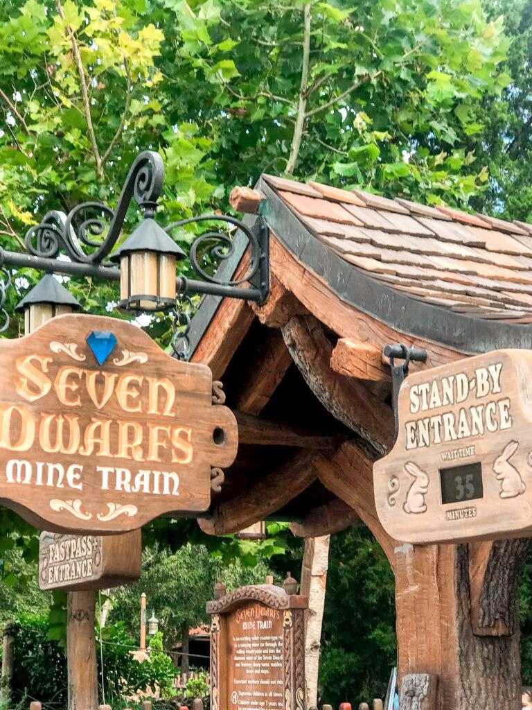 Entrance to Seven Dwarfs Mine Train at Magic Kingdom Park.