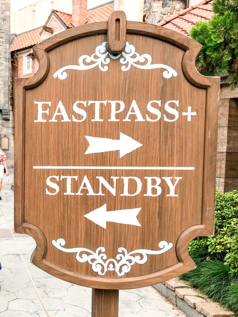 Fastpass+ sign for Frozen Ever After at Epcot.