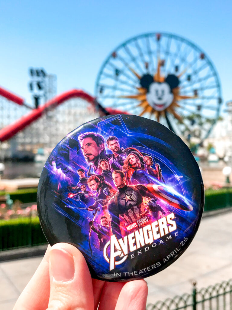 Avengers End Game button in front of Pixar Pier at Disneyland.