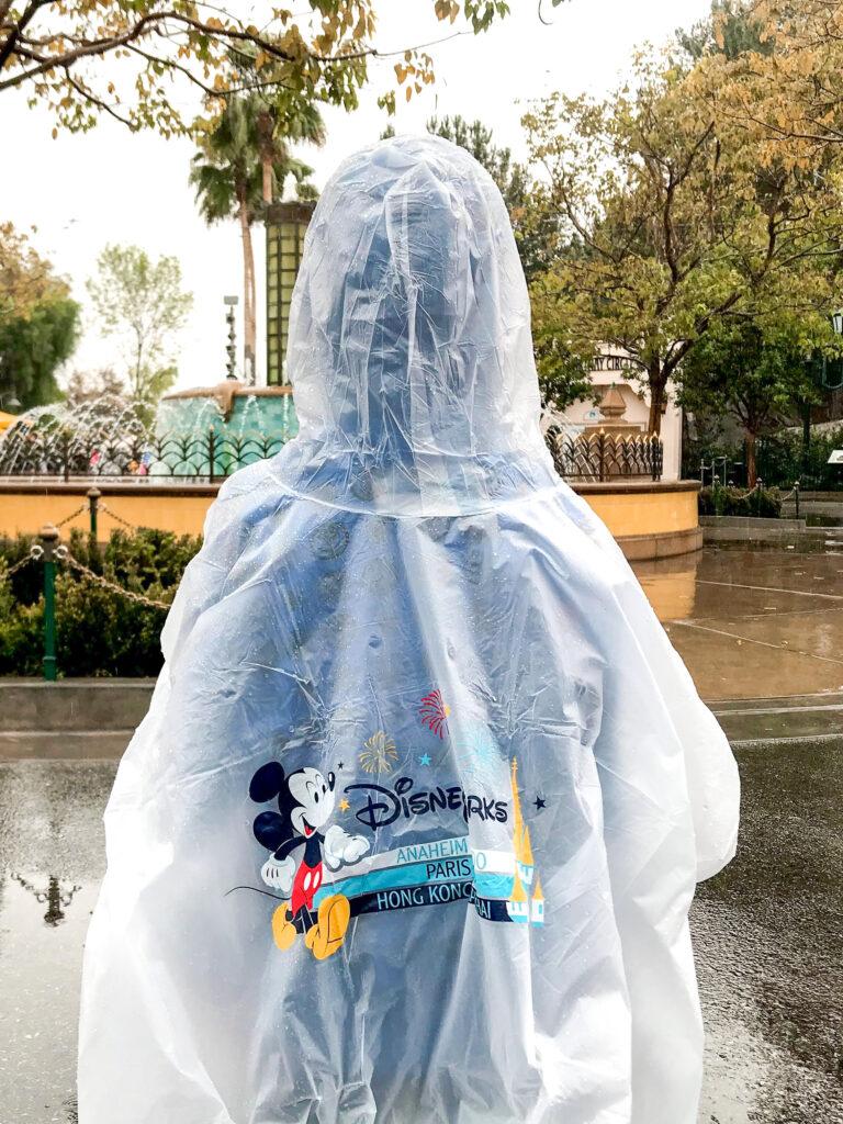 A boy in a Disney Parks poncho at Disneyland.
