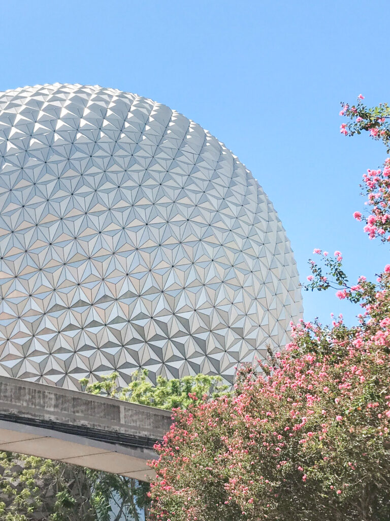 A view of Spaceship Earth at Epcot.