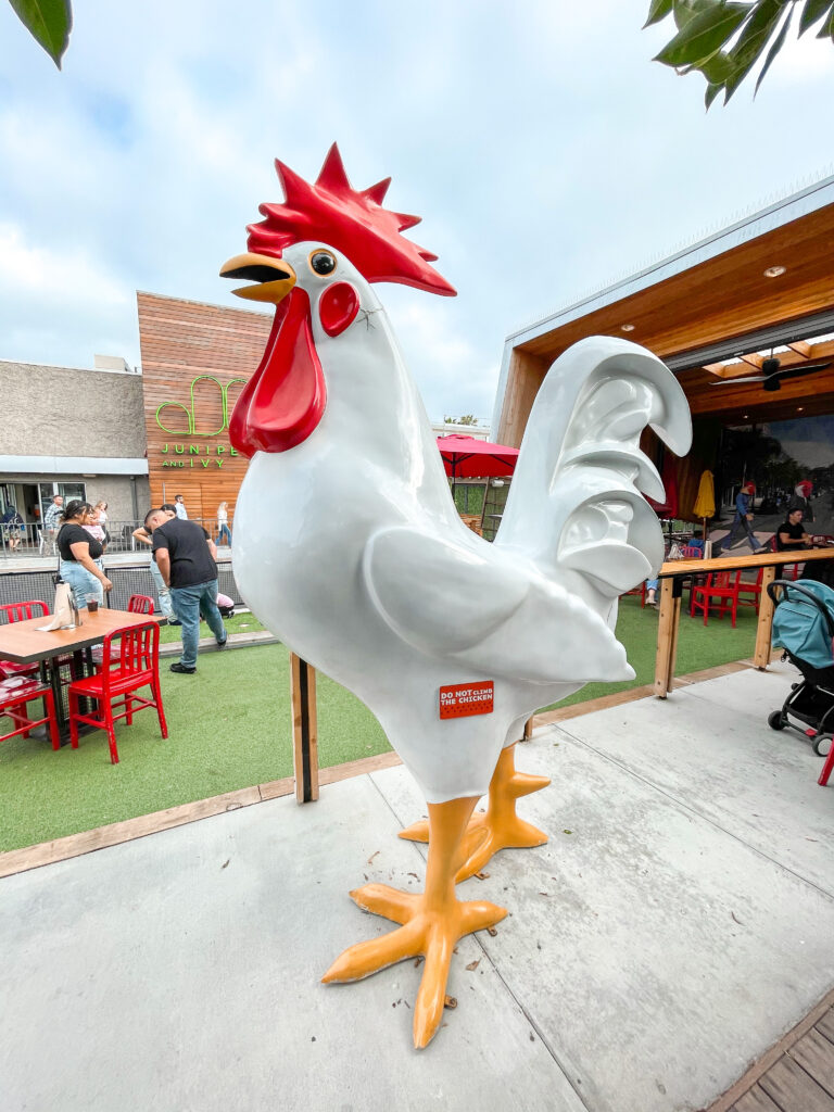 A large chicken outside The Crack Shack in downtown San Diego.