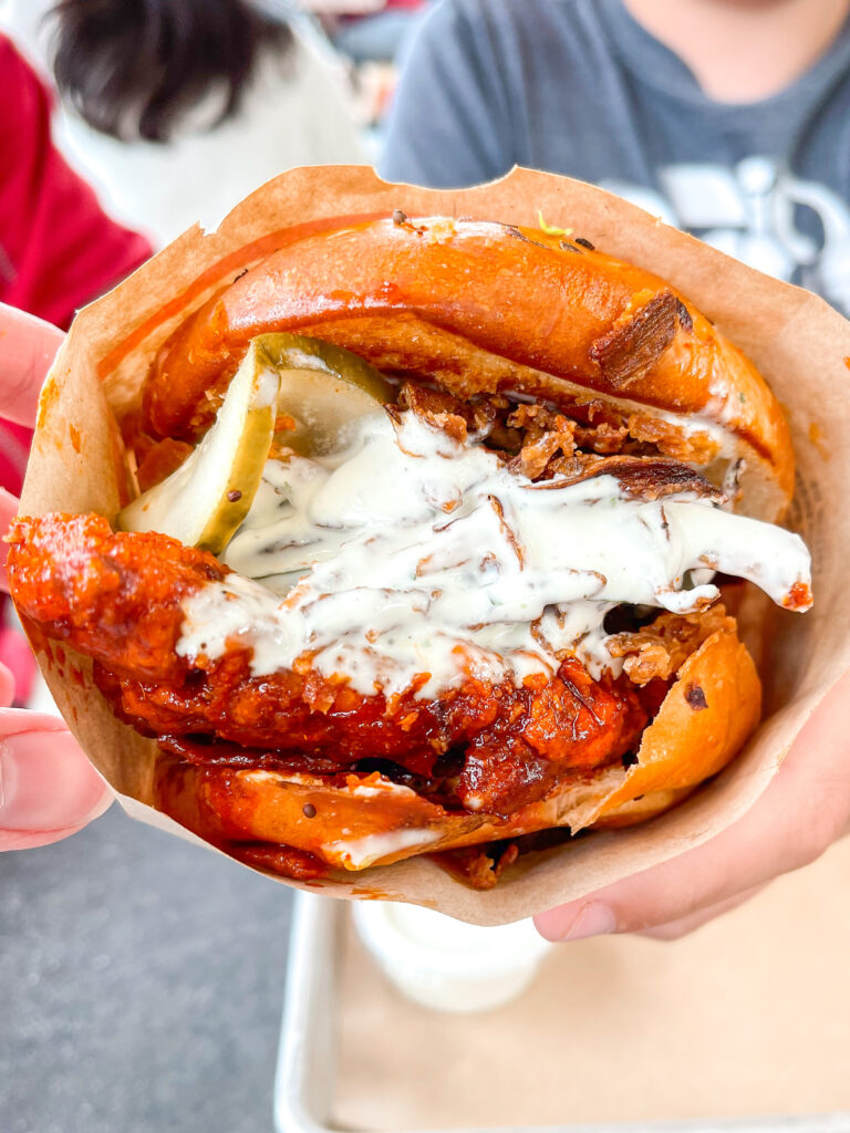 The Firebird sandwich from The Crack Shack in San Diego, California.