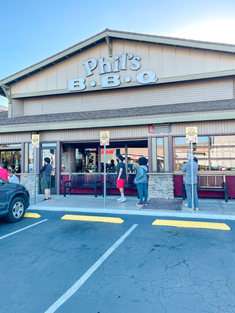 Outside view of Phil's BBQ in Point Loma San Diego, California.
