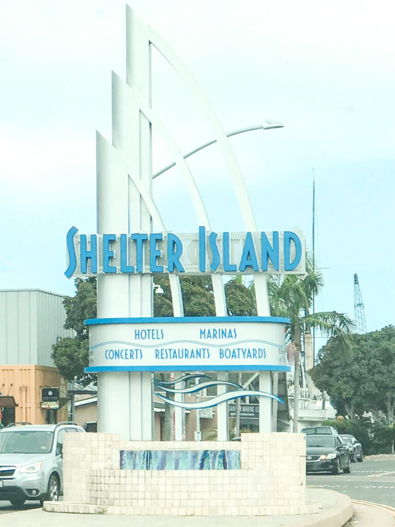 Entrance sign for Shelter Island in San Diego.