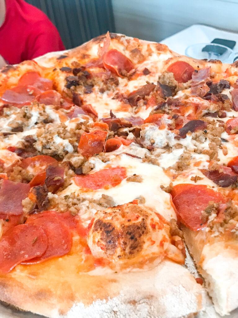 Italian meat pizza from Pizza Nova Point Loma in San Diego.