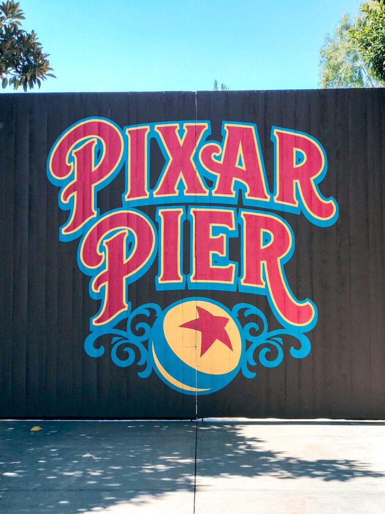 Pixar Pier sign at Disney California Adventure.