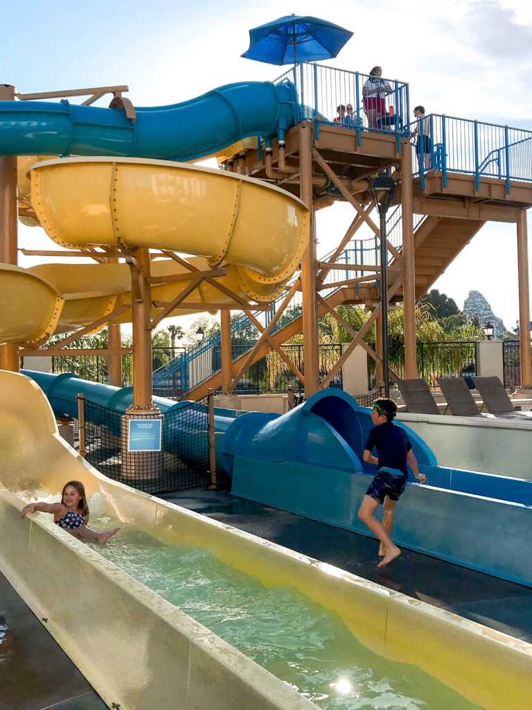 Water slides at Courtyard Anaheim Theme Park Entrance.