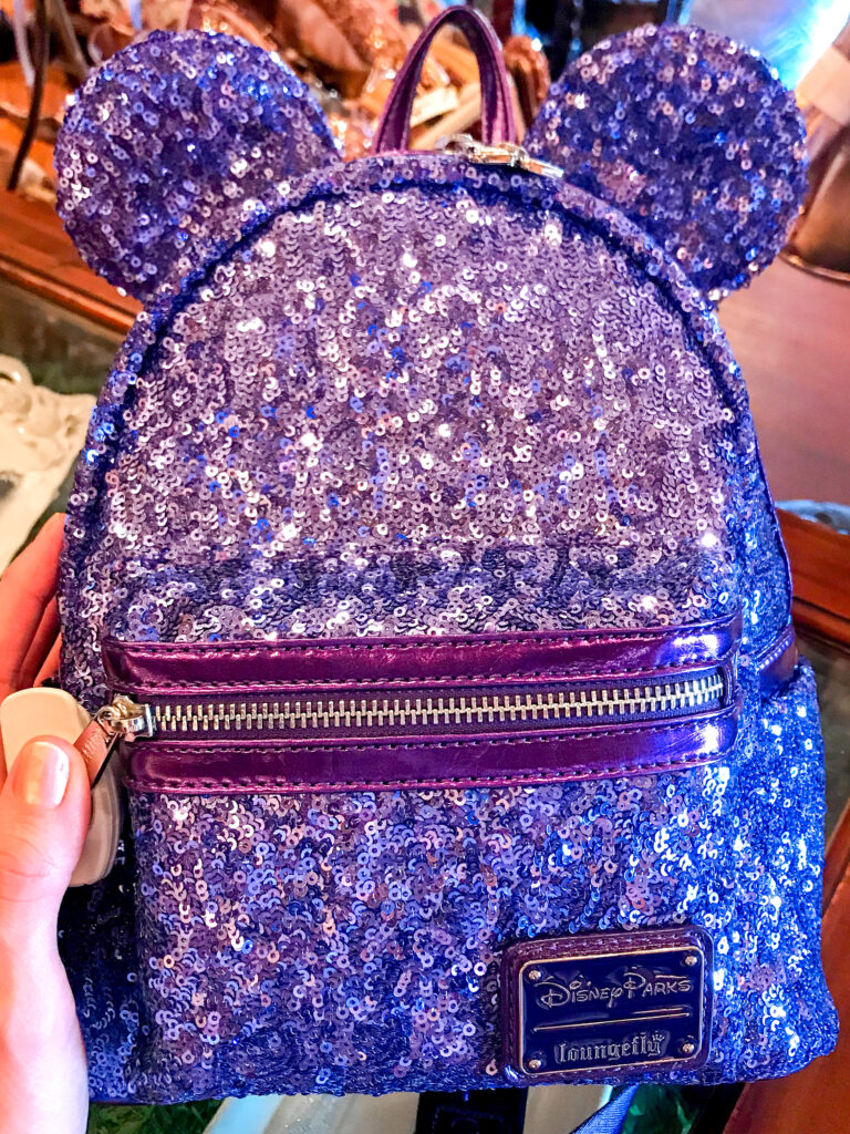 Purple Potion Minnie Mouse Loungefly backpack.