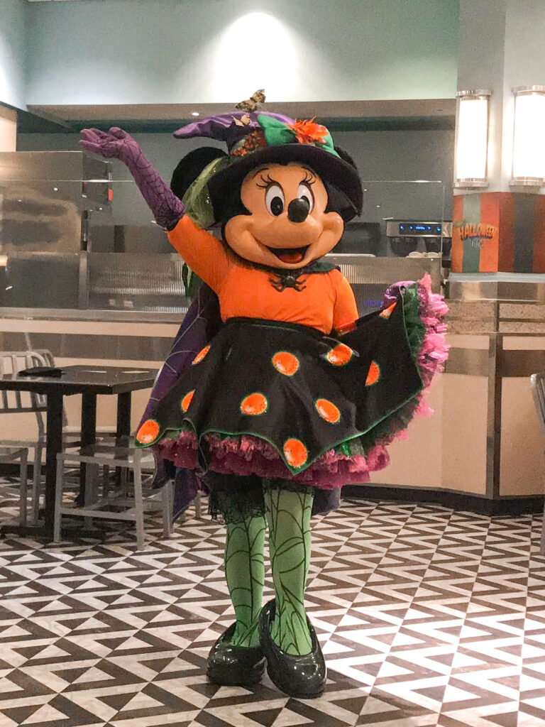Minnie Mouse dressed as a witch at Disney's Hollywood Studios.