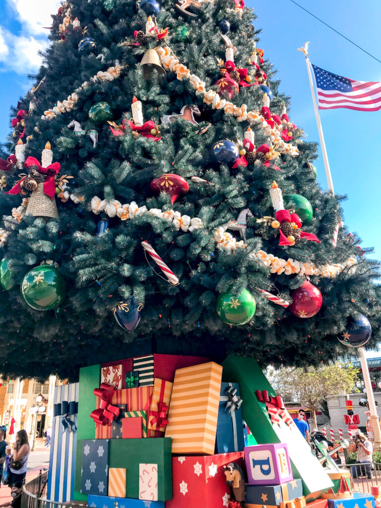 Close up view of the bottom of the Christmas Tree in Disney's Magic Kingdom